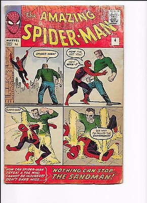 Marvel Comics Amazing Spider-man Issue No 4 VG-? 1st Appearance Sandman