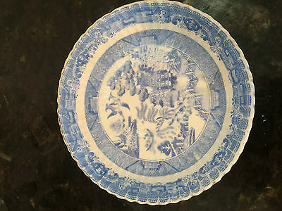 Vintage Light Blue & White Willow Pattern Scalloped/Ribbed Saucer