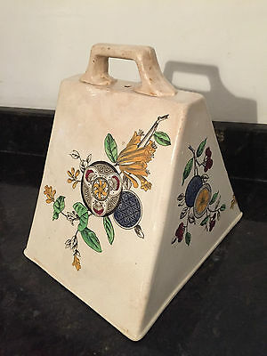 Antique Hand Painted Large Ceramic Cheese Food Cover