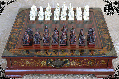 32 pieces chess,CHINESE Terracota Warrior,wood GIFT box set Qin Army Travel game