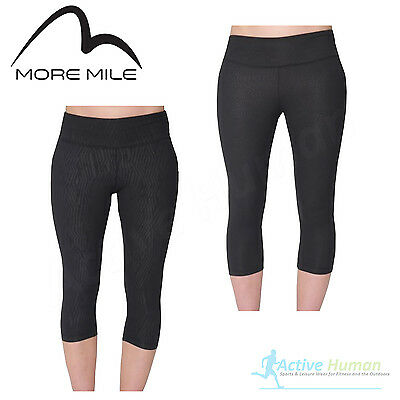 More Mile 3/4 Capri Ladies Running Training Gym Exercise Pants Tights Black