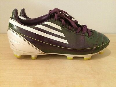 ADIDAS F50 F10 Kids Football Boots Traxion Purple Lime Green Size UK 3 Moulded