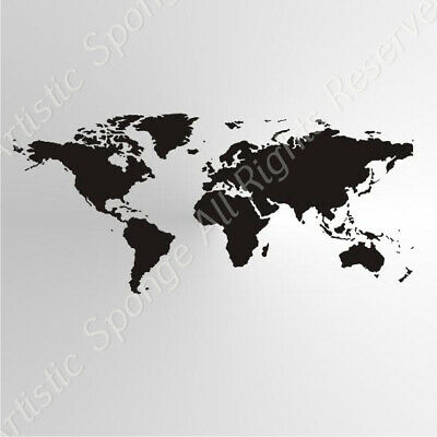 WORLD MAP Art Reusable Stencil A3,A4,A5 Shabby Craft Painting Wall Wood P16