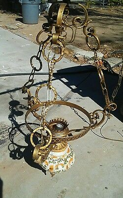 Vintage Hand Painted Ceramic Wrought Iron Chandelier Antique Old Ceiling Light
