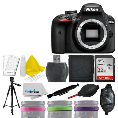 Nikon D3400 Digital SLR Camera +32GB +3 Lens Band +More Deluxe Accessory Bundle!