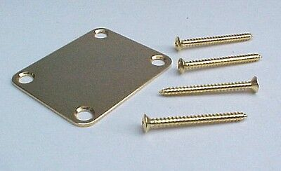 Guitar Neck Plate, Gold Plated with Screws, for Strat, Telecaster, & similar