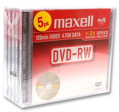 Maxell DVD-RW 4.7GB Pack of 5 DVD-RW 120MIN VIDEO