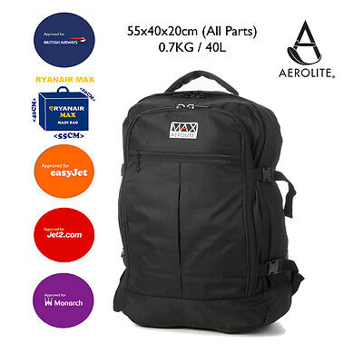 Aerolite Backpack Ryanair 55x40x20cm MAX Approved Cabin Hand Luggage Black Bag