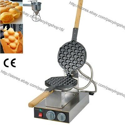Rotary Nonstick Electric Egg Waffle Baker Bubble Waffle Maker Iron w/ Dispenser