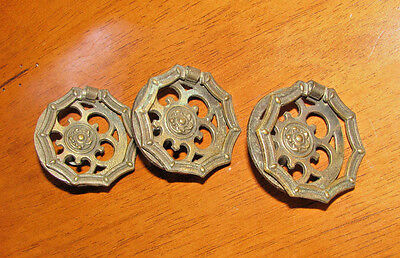 """ANTIQUE BRASS Ring 2"""" KEELER BRASS CO Hinged Furniture Pull Unique LOT 3"""