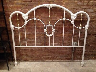 Antique Traditional Metal Cast Iron Full Size Bed Headboard