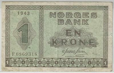 Norway 1 Krone 1943 Better Grade Rare Note