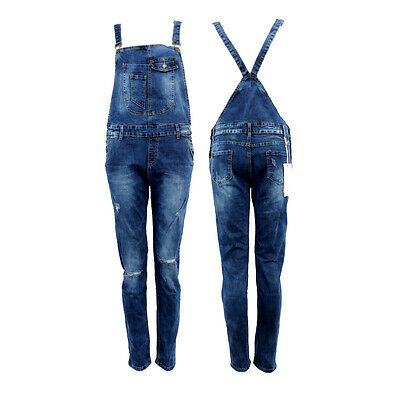 Womens Denim Dungarees Overall Stretch Slim Fit Blue Stone Wash Girls Ripped