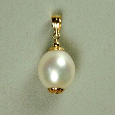 14k solid y/gold 11x10mm natural freshwater white pearl beautiful pendant