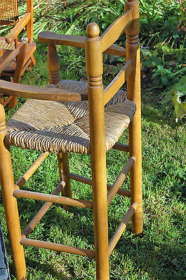 Vintage French Childs High Chair Wood Legs Rush Seat Highchair from Old School