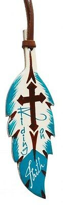 """""""RIDING ON FAITH"""" Leather TEAL & BROWN Painted Feather Saddle Tie On w/ Cross!!!"""
