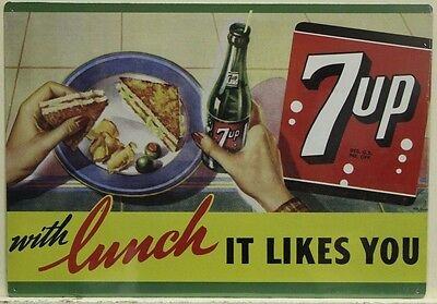 7-UP Metal Sign with Lunch it likes you vintage style ad 7up soda pop    su-06