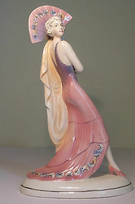 BEAUTIFUL KATZHUTTE 1930s ART DECO PORCELAIN 'FAN DANCER' LADY FIGURINE
