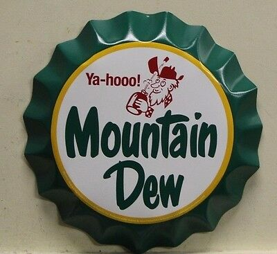 "MOUNTAIN DEW Metal Sign vintage hillbilly logo bottle cap style  12""       rd-12"