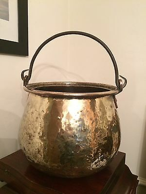 Antique Early Victorian Brass and Copper Coal Bucket