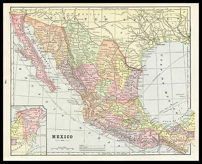MEXICO Guadalajara Yucatan Baja 1892 antique color lithograph Map