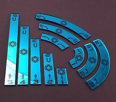 X Wing Movement Templates Imperial, Mirrored Blue Acrylic