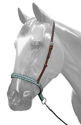 Medium Oil Leather Western Noseband with Tiedown  TEAL FILIGREE New Horse Tack