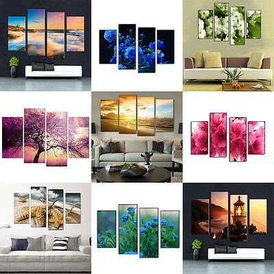 4PCS Modern Art Oil Paintings Wall Unframed Pictures Canvas Print Home Decor
