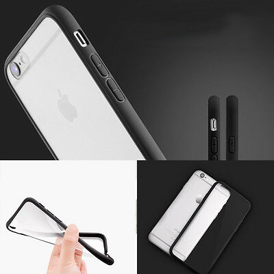 PC Silicone iPhone 6 6s Case Cover Ultrathin Transparent Black Side Crystal