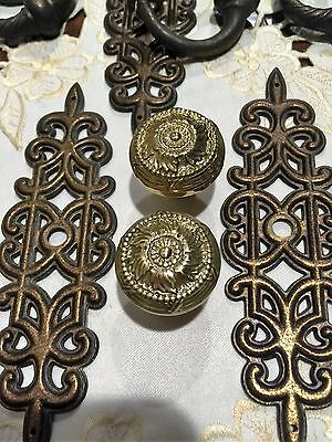 Vintage Solid  Brass Backing Plates Pulls And Knobs