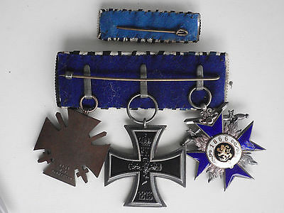 Germany Bavaria Medal Bar For 3 Medals With Service Ribbon Bar
