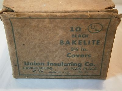 Bakelite Vintage Electrical Round Recepticle Outlet Covers NOS 3 1/4 Box Of 10