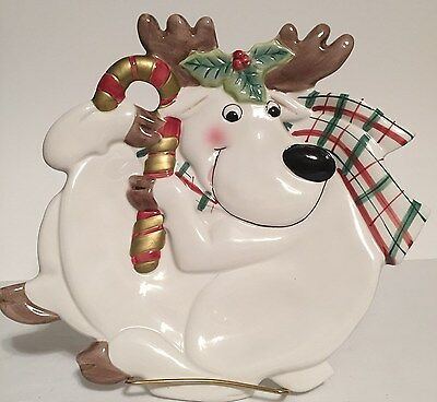 Fitz & Floyd Decorative Christmas Reindeer Canape Serving Plate