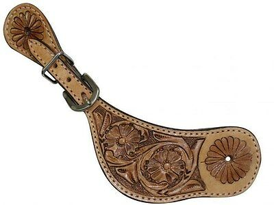 Showman Floral Tooled Western Leather Spur Straps! NEW HORSE TACK!!