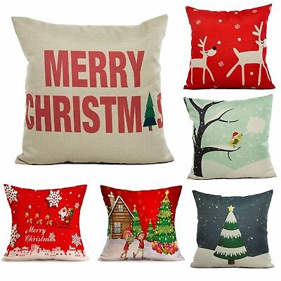 17 x 17  inch Christmas Santa Reindeer Tree Square Cushion Cover Case