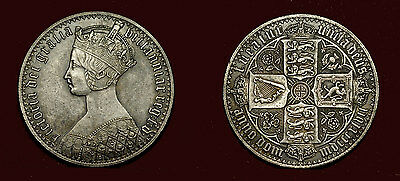 Great Britain - Crown 1847 - Gothic type, Victoria - silvered/ pls/see discripti