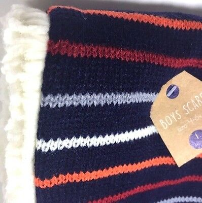Boys Winter Scarf Striped New Navy Blue Red Orange Gray Soft Faux Fur Size 4-6X