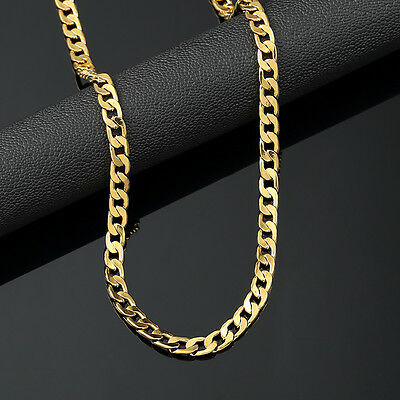 Mens 14K Yellow Gold Plated 24in Cuban Chain Necklace 4.7 MM
