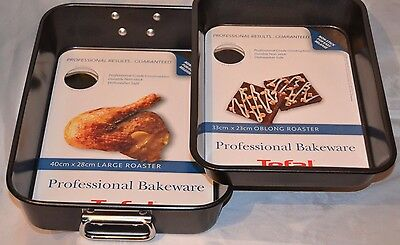 Tefal Professional Bakeware Carbon Steel Non-Stick Roasters Set Large & Oblong