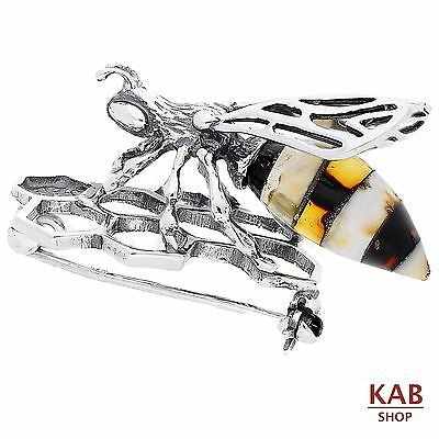 Baltic Amber Sterling Silver 925 Jewellery Bee Brooch, Kab-218