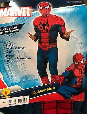 NEW Boys Size 10/12 Spider-Man Marvel Muscle Costume Mask Dress Up Christmas