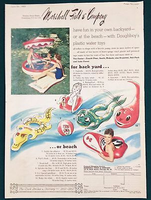 Vintage 1952 Marshall Fields Colorful Children's Water Toys Print Ad, Doughboy's