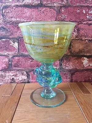 Superb 1970 Mdina Glass Trailed Knop Chalice Goblet Signed by Michael Harris