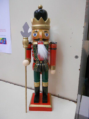 Hand Painted Wood Nutcracker 24cm Traditional Christmas Ornament Black Gold Hat