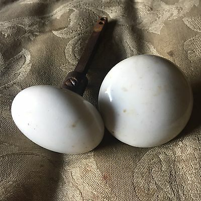 Antique White Ceramic/Porcelain Door Knob: Matching Set #5