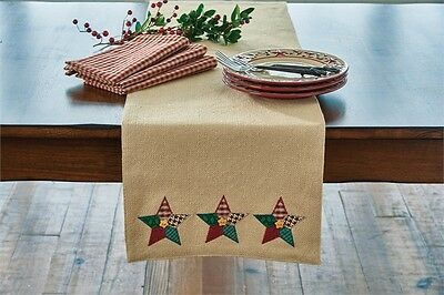 "(1) Cotton Burlap Christmas Sampler Applique Star Country Table Runner 13""x36"""