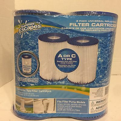 Summer Escapes 2 Pack Universal Replacement Filter Cartridge A or C Type