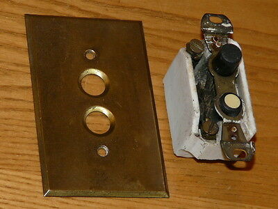 Vintage Antique Push Button Light Switch with Brass Switch Plate Cover