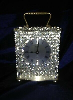 Bling Mr & Mrs Style Silver Diamante Crystal Carriage/mantel Clock