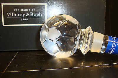 Villeroy & Boch Crystal Football Soccer Ball Bottle Decanter Stopper Trophy Gift